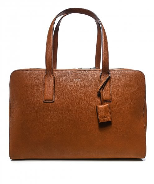 BOSS Grained Leather Crosstown C_Holdall
