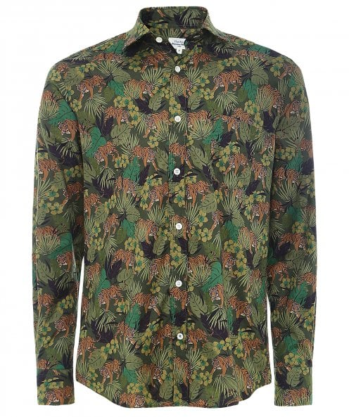 Hartford Slim Fit Tiger Print Paul Shirt