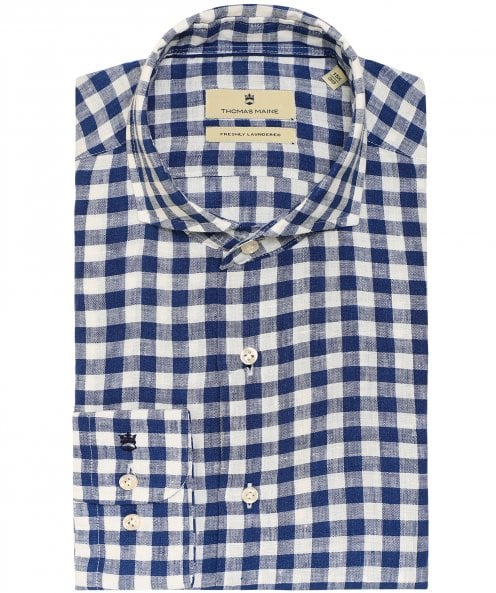 Thomas Maine Tailored Fit Linen Gingham Roma Shirt
