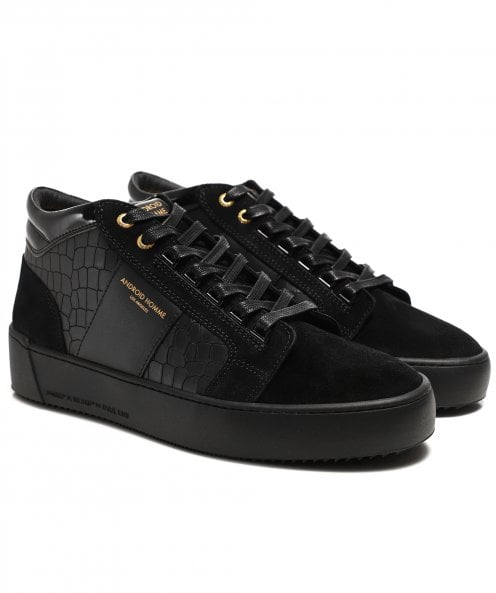 Android Homme Leather Mock Croc Propulsion Mid Geo Trainers