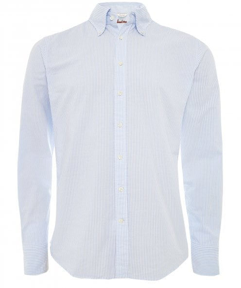 Stenstroms Fitted Body Washed Oxford Striped Shirt