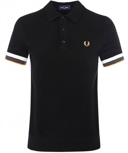Fred Perry Striped Cuff Cotton Polo Shirt
